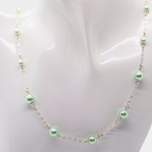 Chained Mint Green Pearls Necklace